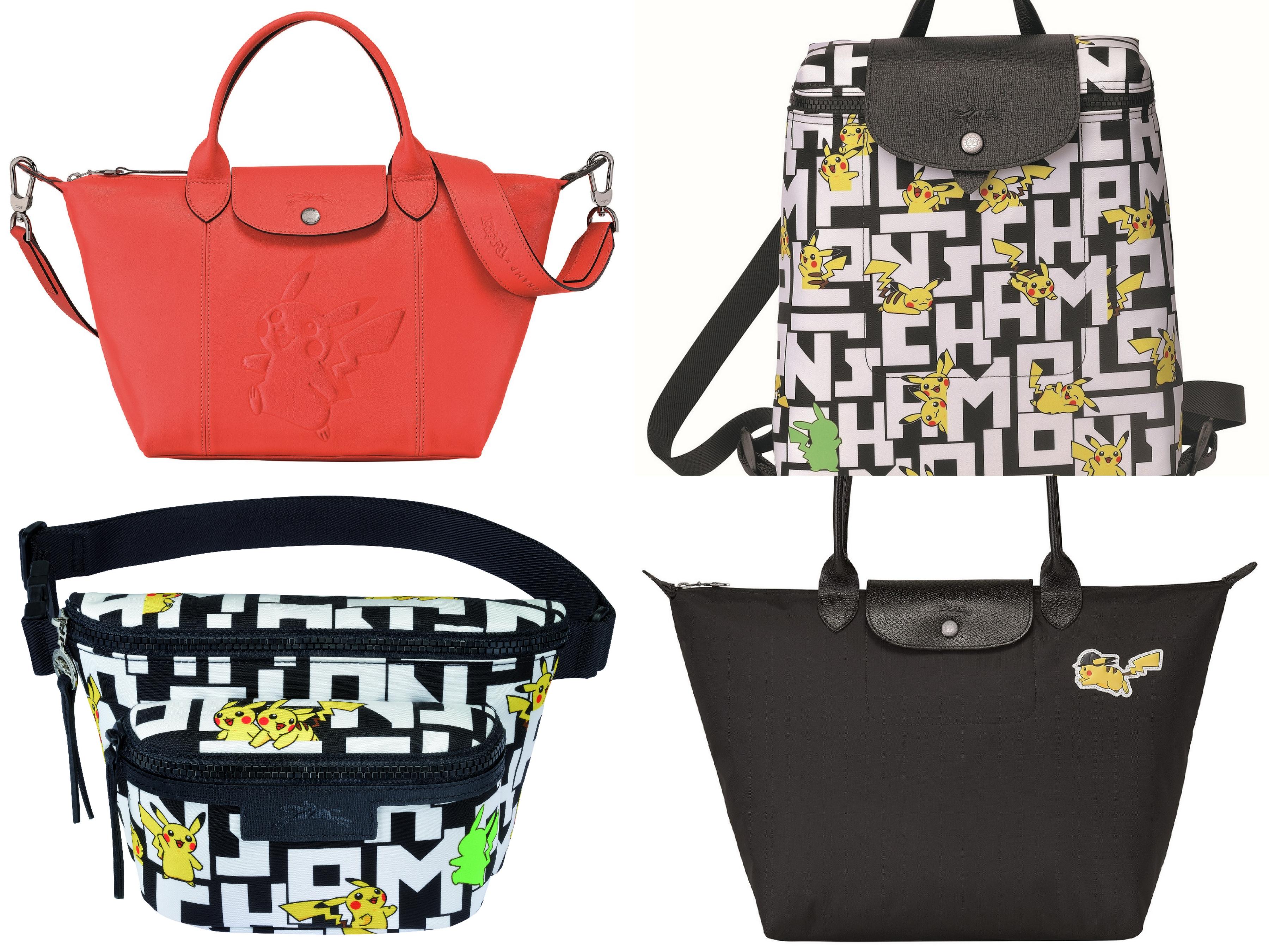 本系列包款於台灣共推出三種版本,除了LGP印花帆布款及素面皮革壓印款式外,還特別設計飾有戴上馬術騎士帽的皮卡丘包款