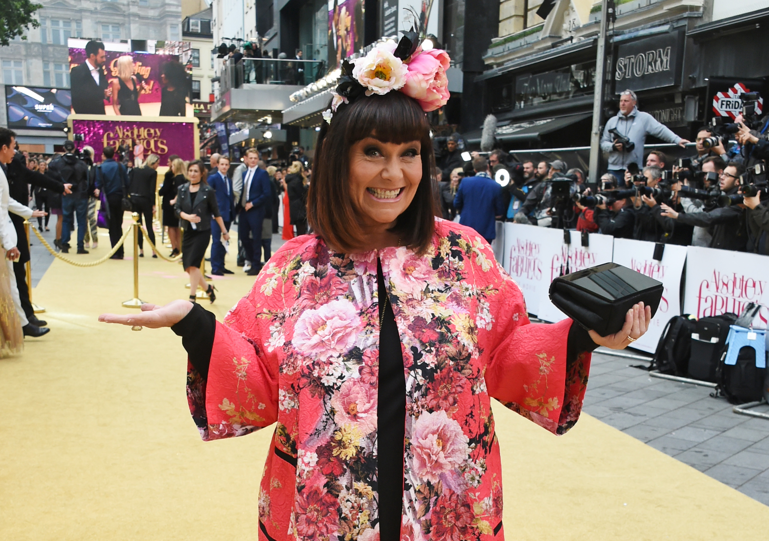 """LONDON, ENGLAND - JUNE 29:  Dawn French attends the World Premiere of """"Absolutely Fabulous: The Movie"""" at Odeon Leicester Square on June 29, 2016 in London, England.  (Photo by David M. Benett/Dave Benett/WireImage)"""