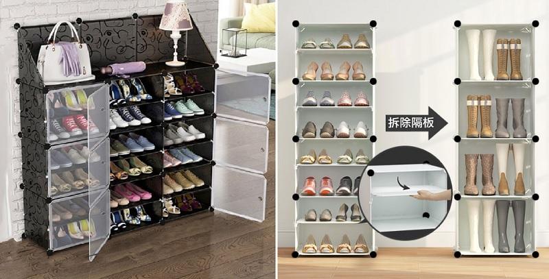 ▲3列6層魔片儲物收納櫃,頂層還附帶置物架,隔板拿掉就可放靴子,蜈蚣女孩必備,趁78折快入手。(圖片來源:Yahoo購物中心)