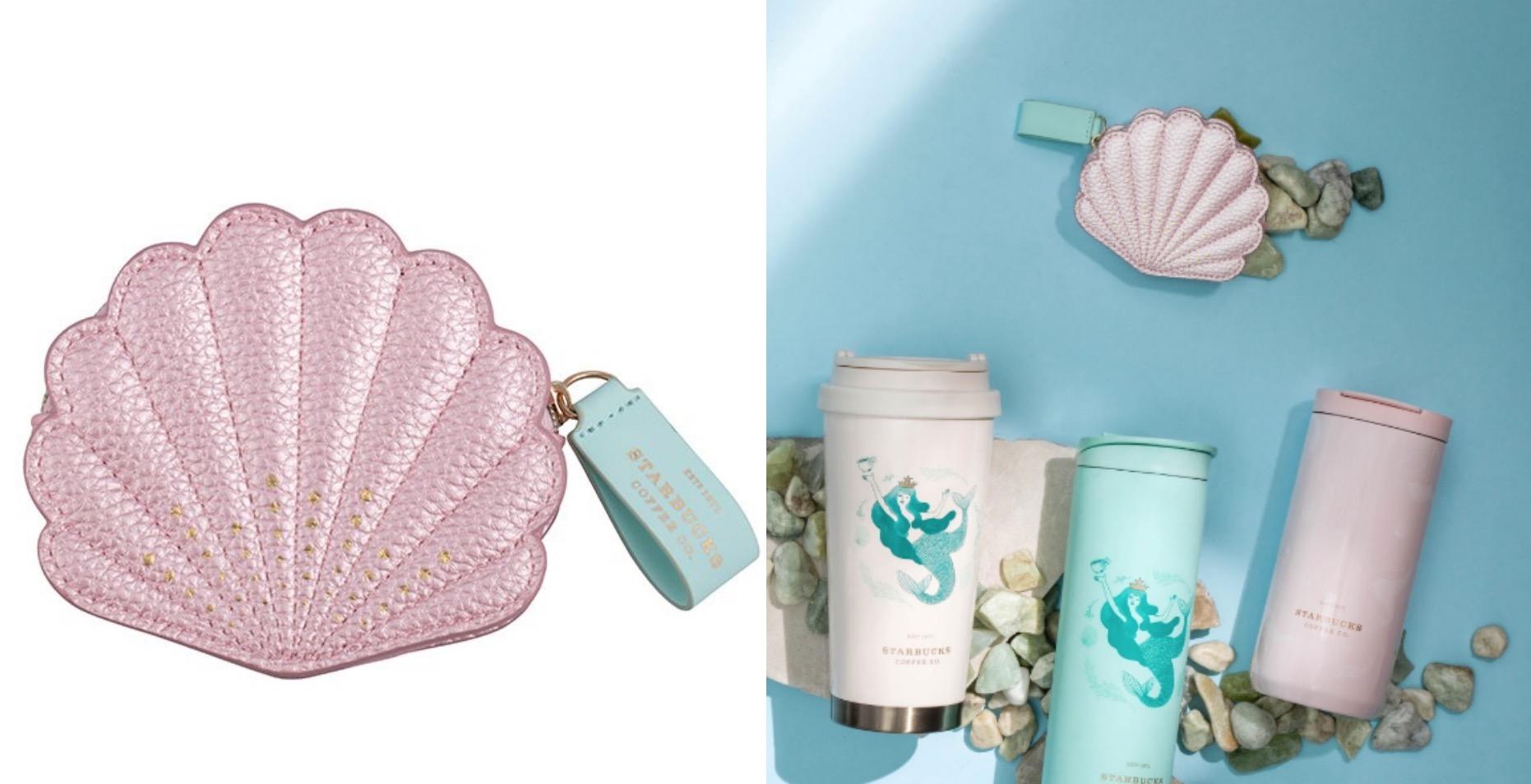 除了美人魚的魚尾,這次也有許多耀眼貝殼融入商品,這款貝殼造型零錢包仙氣爆棚,柔柔的亮粉色搭配藍綠色真的像是人魚公主的收藏品!