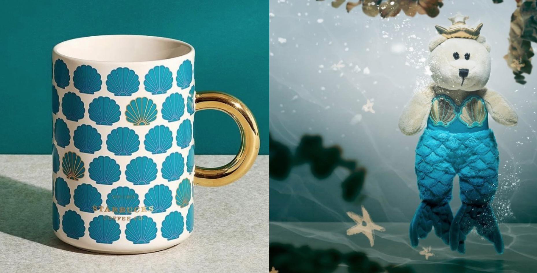 這次秋季新品主題以星巴克的代表「Siren女神」為靈感,創作出各式樣海洋藍綠色的周邊,星巴克將美麗的魚尾、耀眼的貝殼融入各式日常好用的生活器皿中,貝殼馬克杯太美啦~
