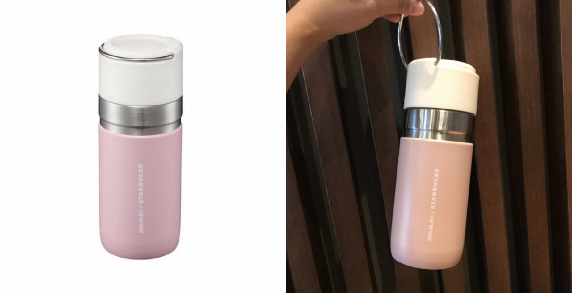 韓國星巴克秋天商品,女生最愛的嫩粉紅色,銀色金屬的提把實用兼具時尚,可手提,方便攜帶使用。