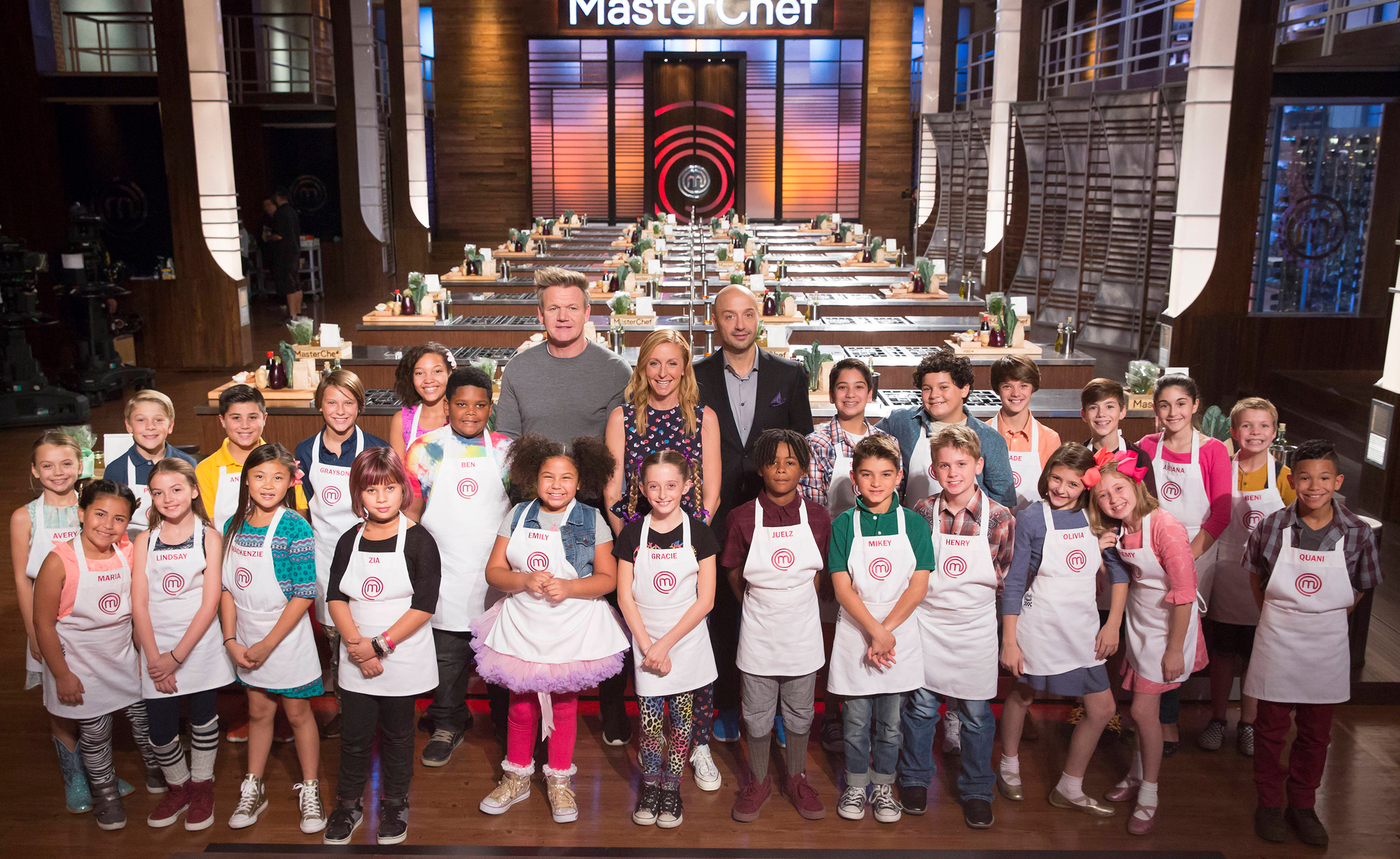 MASTERCHEF: The Top 24 contestants with Host / Judge Gordon Ramsay and Judges Christina Tosi and Joe Bastianich in the Junior Edition: Culinary ABCs time period premiere episode of MASTERCHEF airing Friday, March 9 (8:00-9:00 PM ET/PT) on FOX. (Photo by FOX Image Collection via Getty Images)