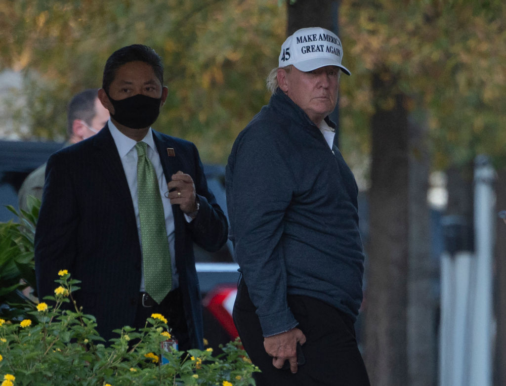 President Donald Trump returns to the White House from playing golf. Source: Getty