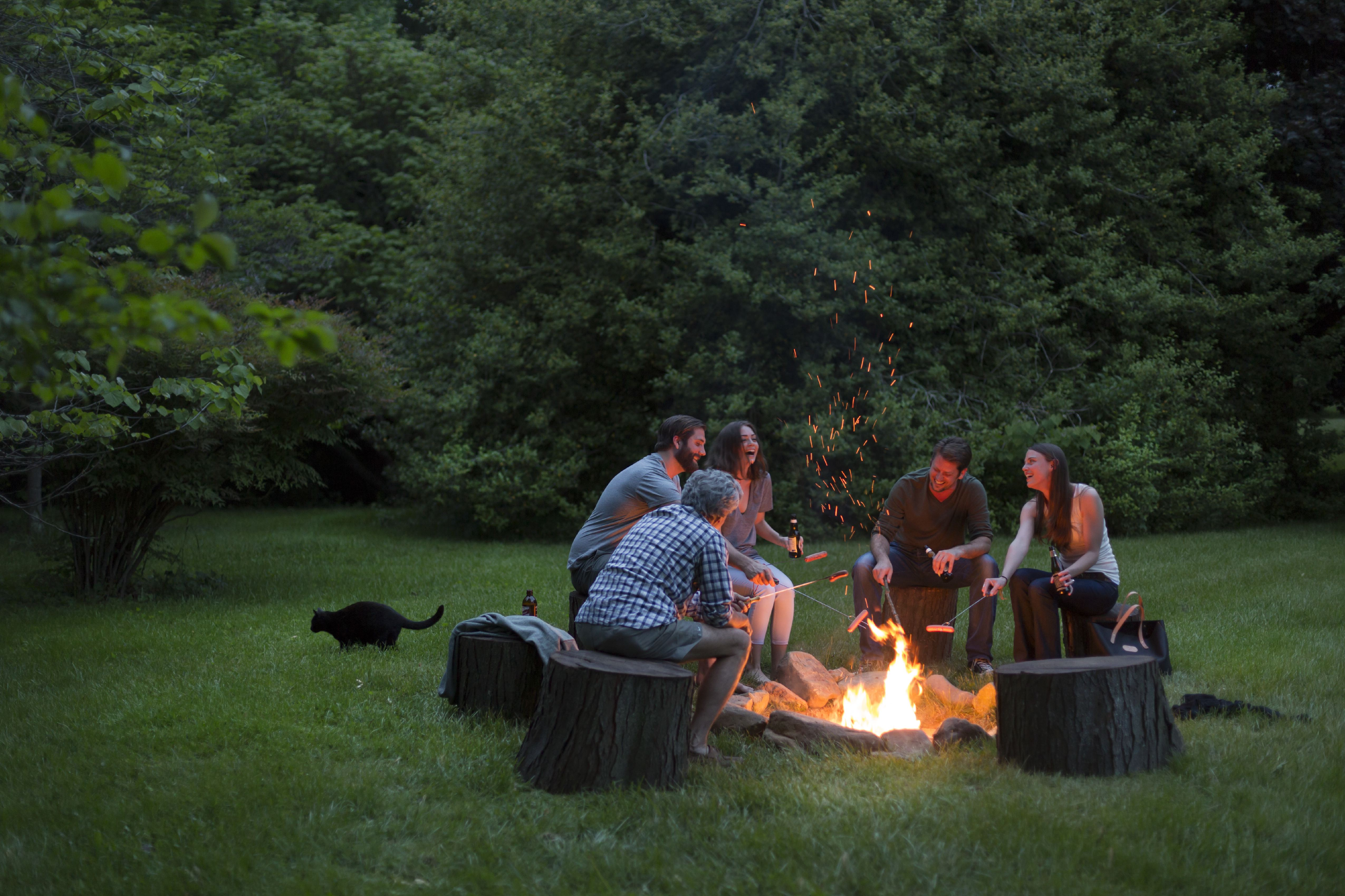 Group of adults around a fire pit, Brampton Inn, Chestertown, Maryland, USA. (Photo by: Jumping Rocks/Universal Images Group via Getty Images)