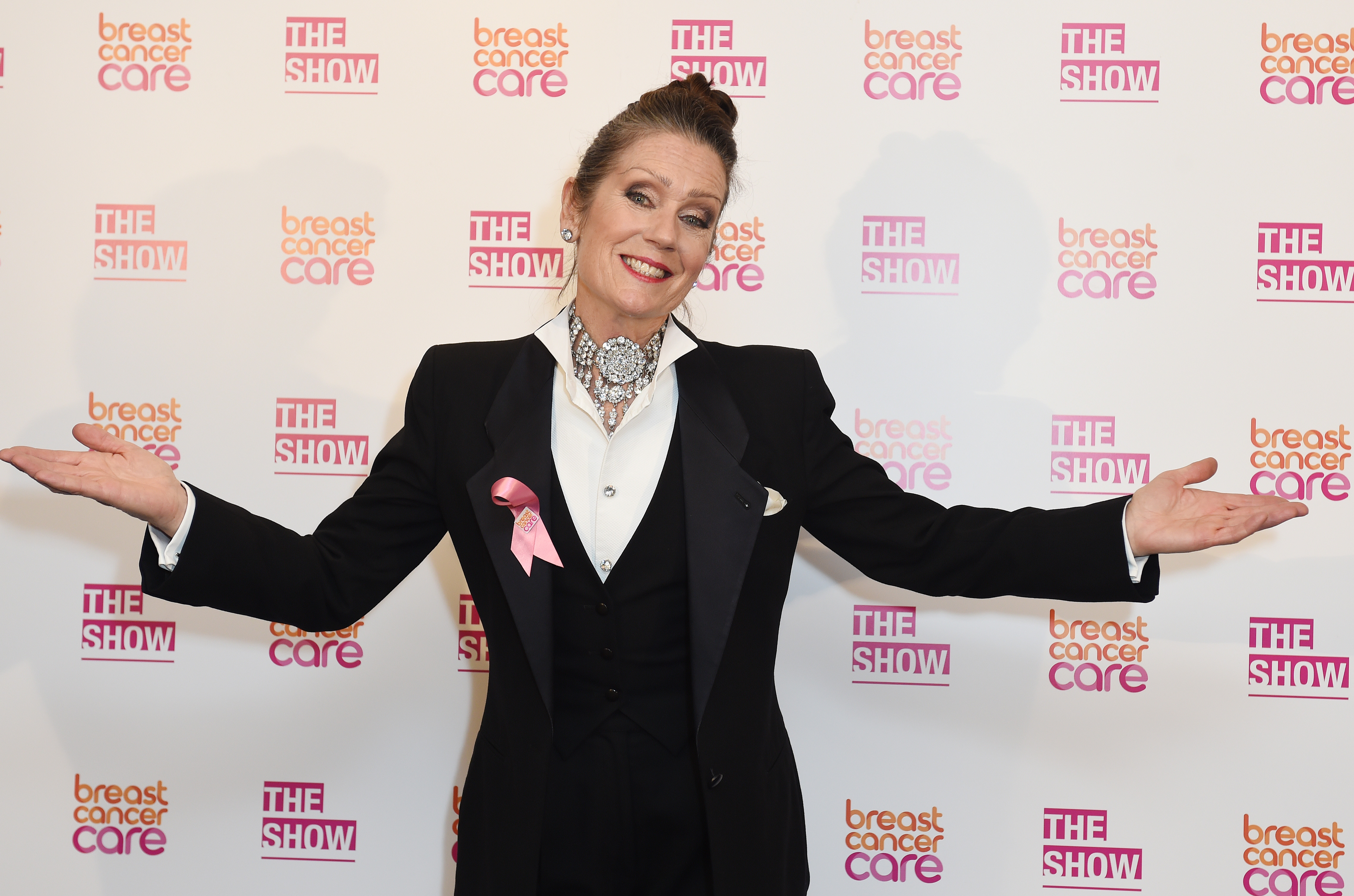 LONDON, ENGLAND - OCTOBER 07:  Lorraine Chase attends Breast Cancer Care's London fashion show at Grosvenor House Hotel to launch Breast Cancer Awareness Month, on October 7, 2015 in London, England.  (Photo by Tabatha Fireman/Getty Images for Breast Cancer Care)