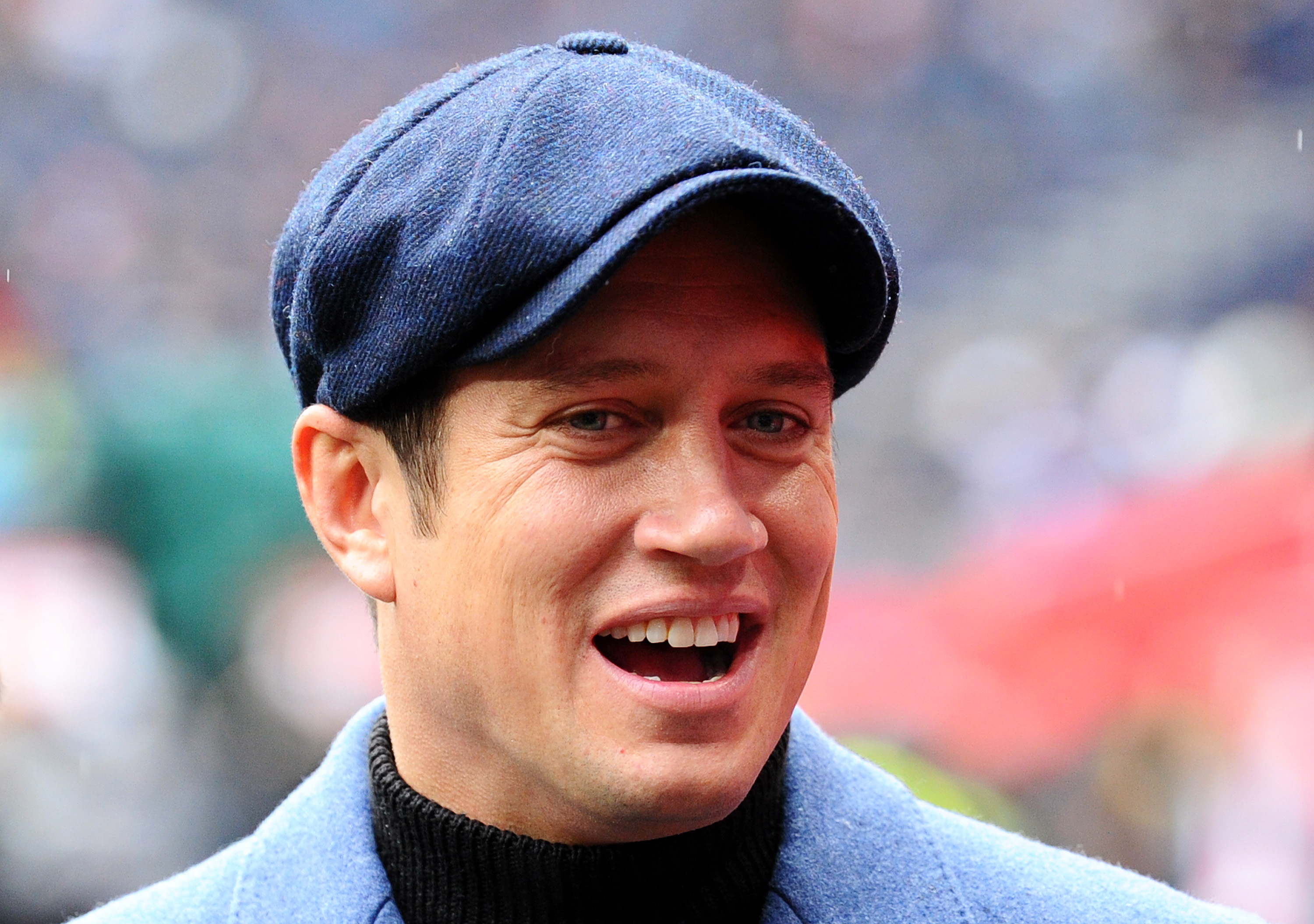 Vernon Kay looks on pitch-side prior to the NFL match between the Carolina Panthers and Tampa Bay Buccaneers at Tottenham Hotspur Stadium on October 13, 2019 in London, England. (Photo by Alex Burstow/Getty Images)