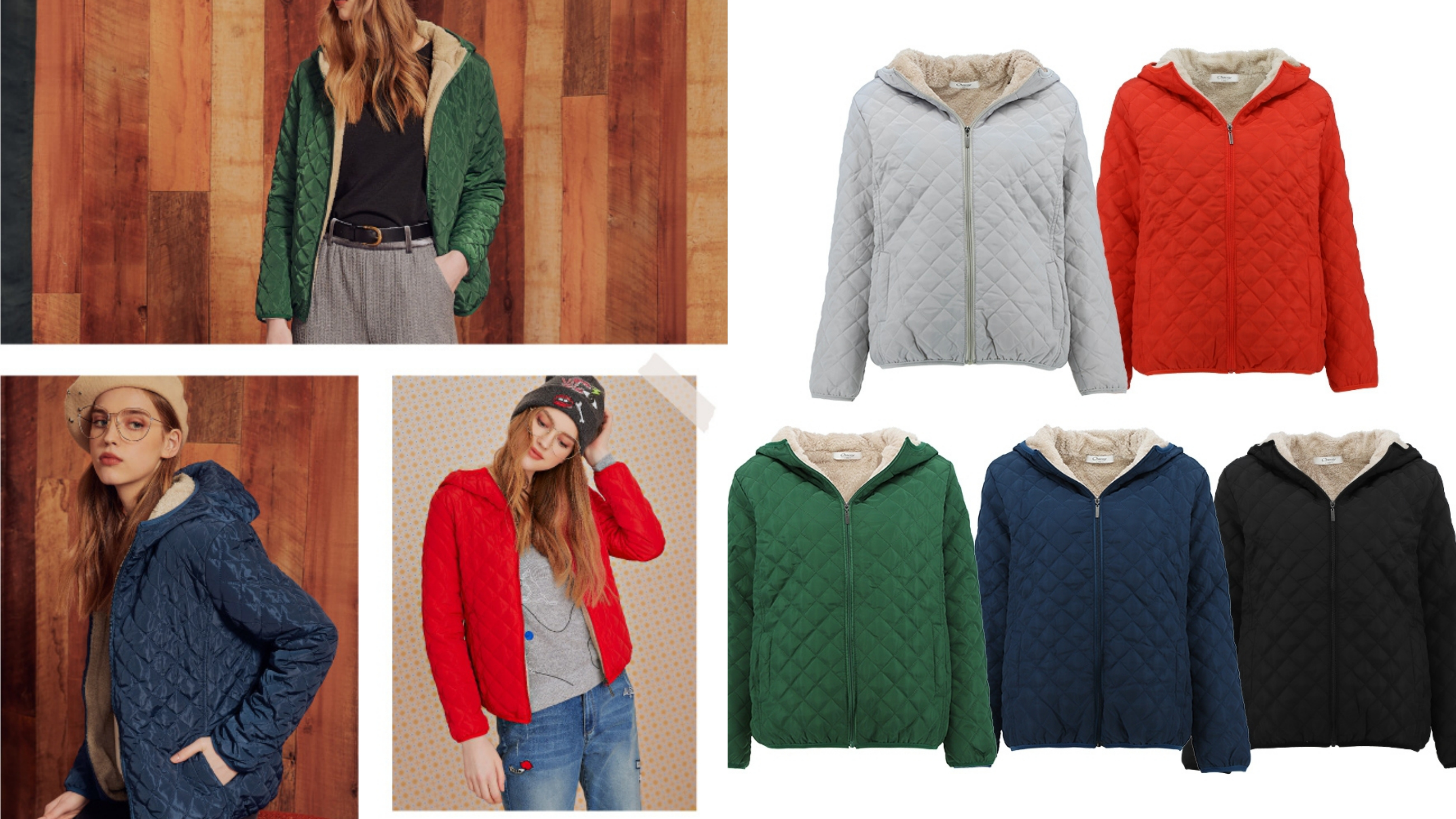 高級鋪棉面料穿著舒適保暖,菱格車縫線增添造型感