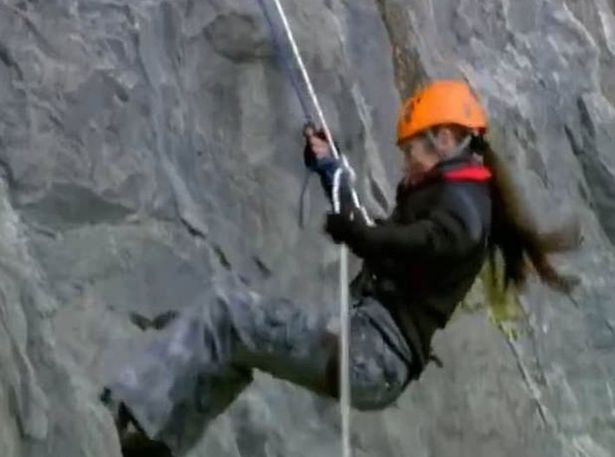 Lorraine Chase abseiling on 'Carry On Barging' in 2016 (Channel 5)