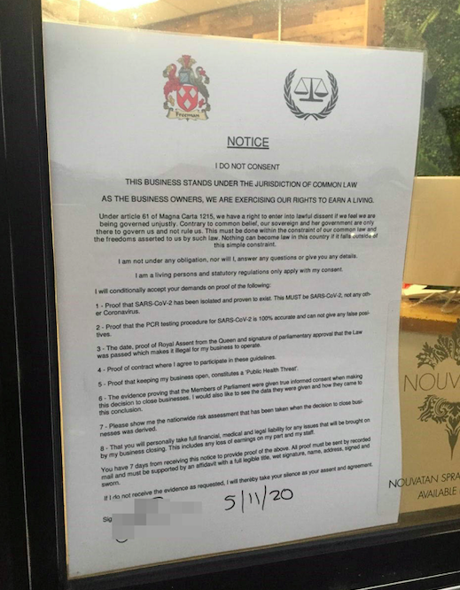 The notice at Quinn Blakey Hairdressing citing the Magna Carta. (SWNS)