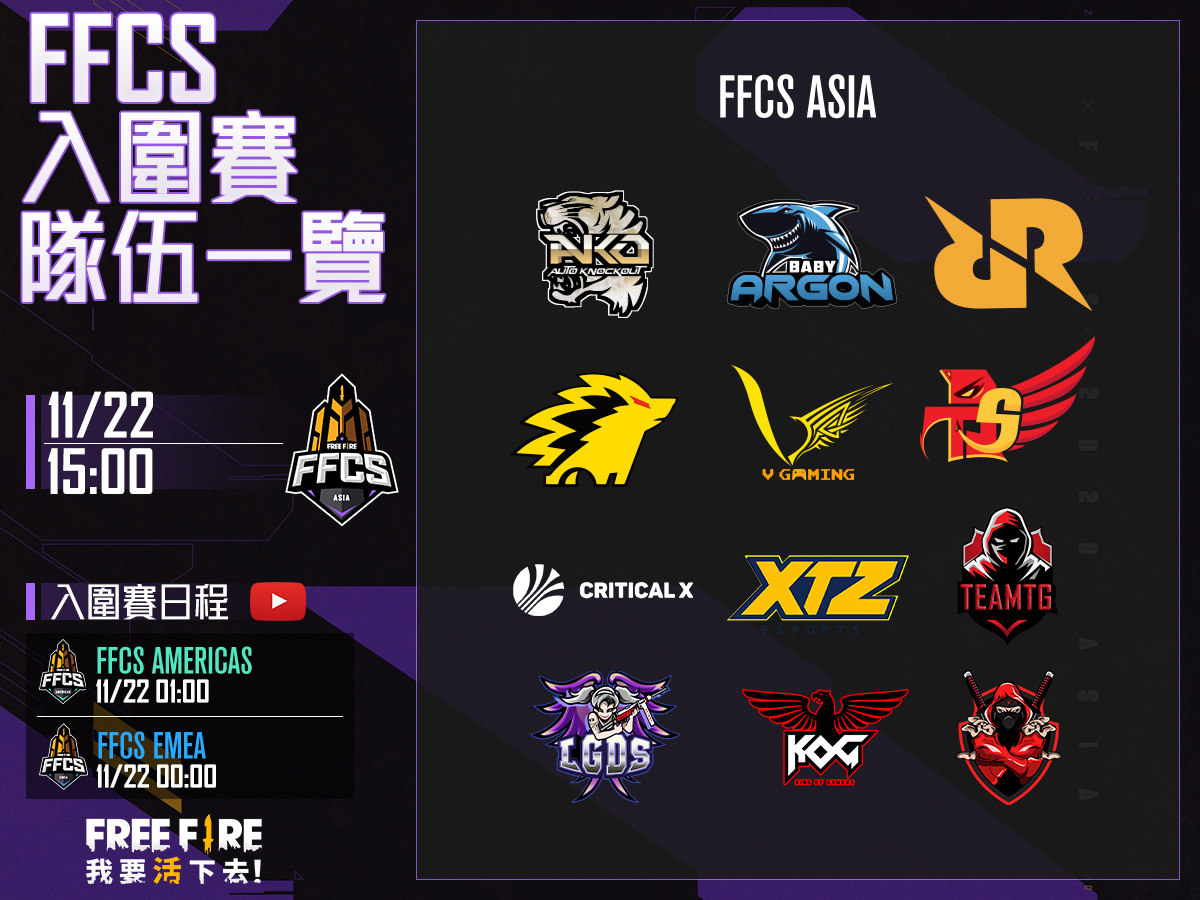 《Free Fire ASIA》 入圍賽將在11/22正式開打