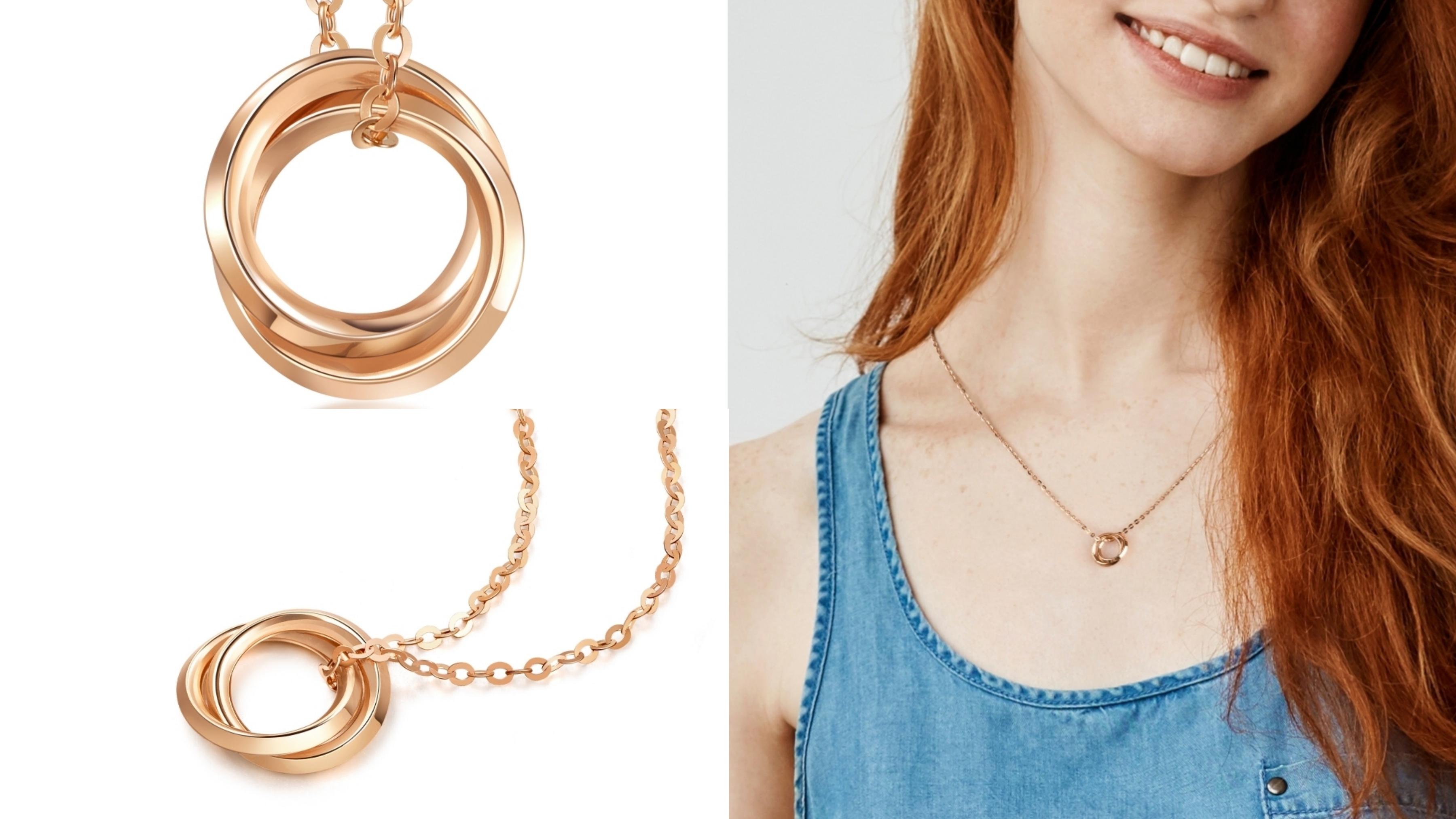 18K金材質,不易過敏,設計感的圓環相疉交錯