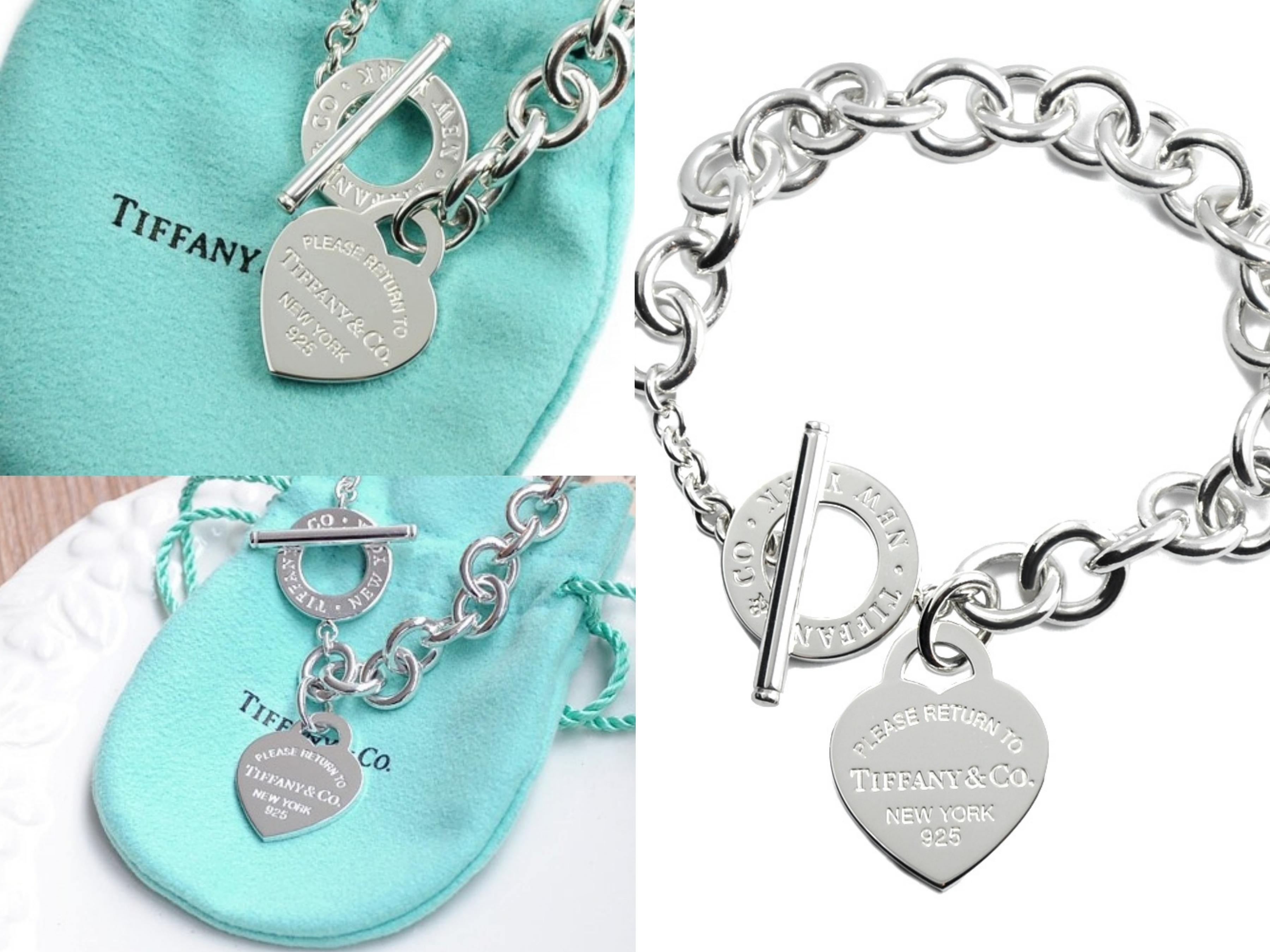 經典刻字愛心純銀T字扣手鍊,絕對是Tiffany愛好者的入門款