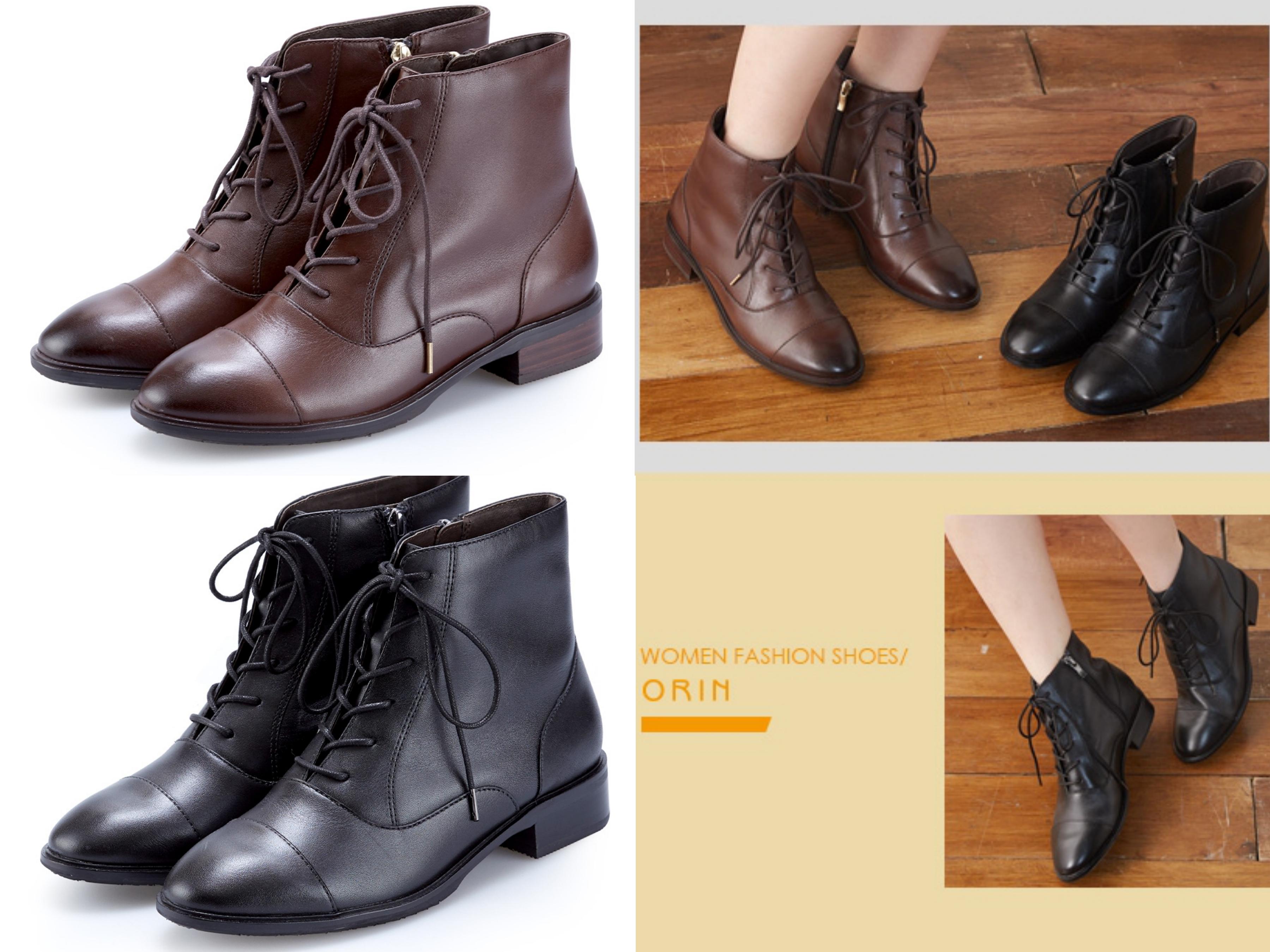 今年最流行綁帶靴!光澤蠟感的雙色牛皮打造