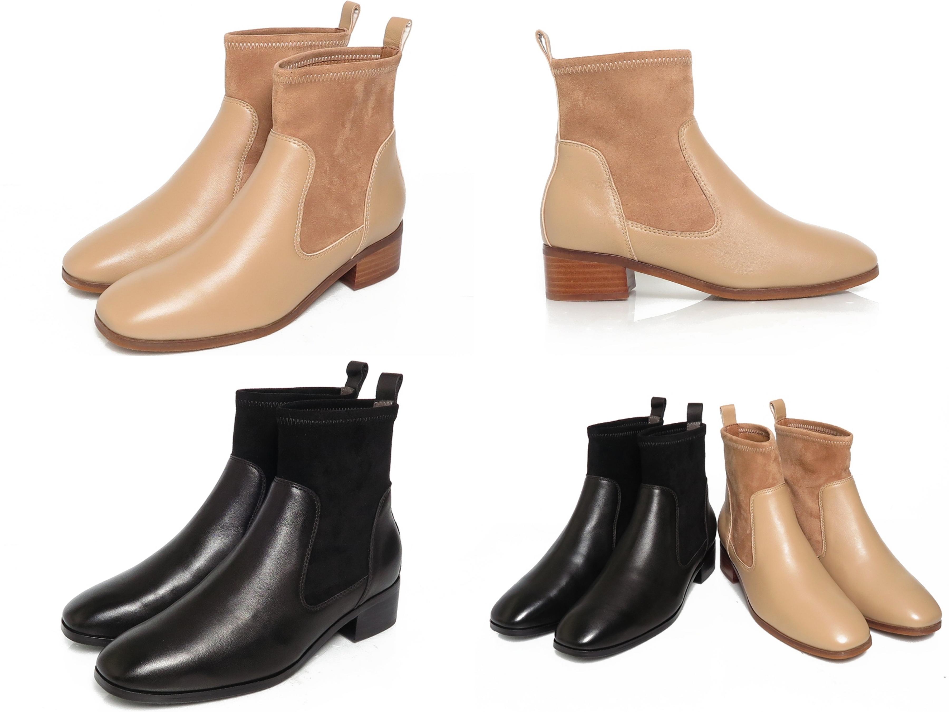 時髦顯瘦方頭,質感進口小牛皮,冬日最夯襪靴