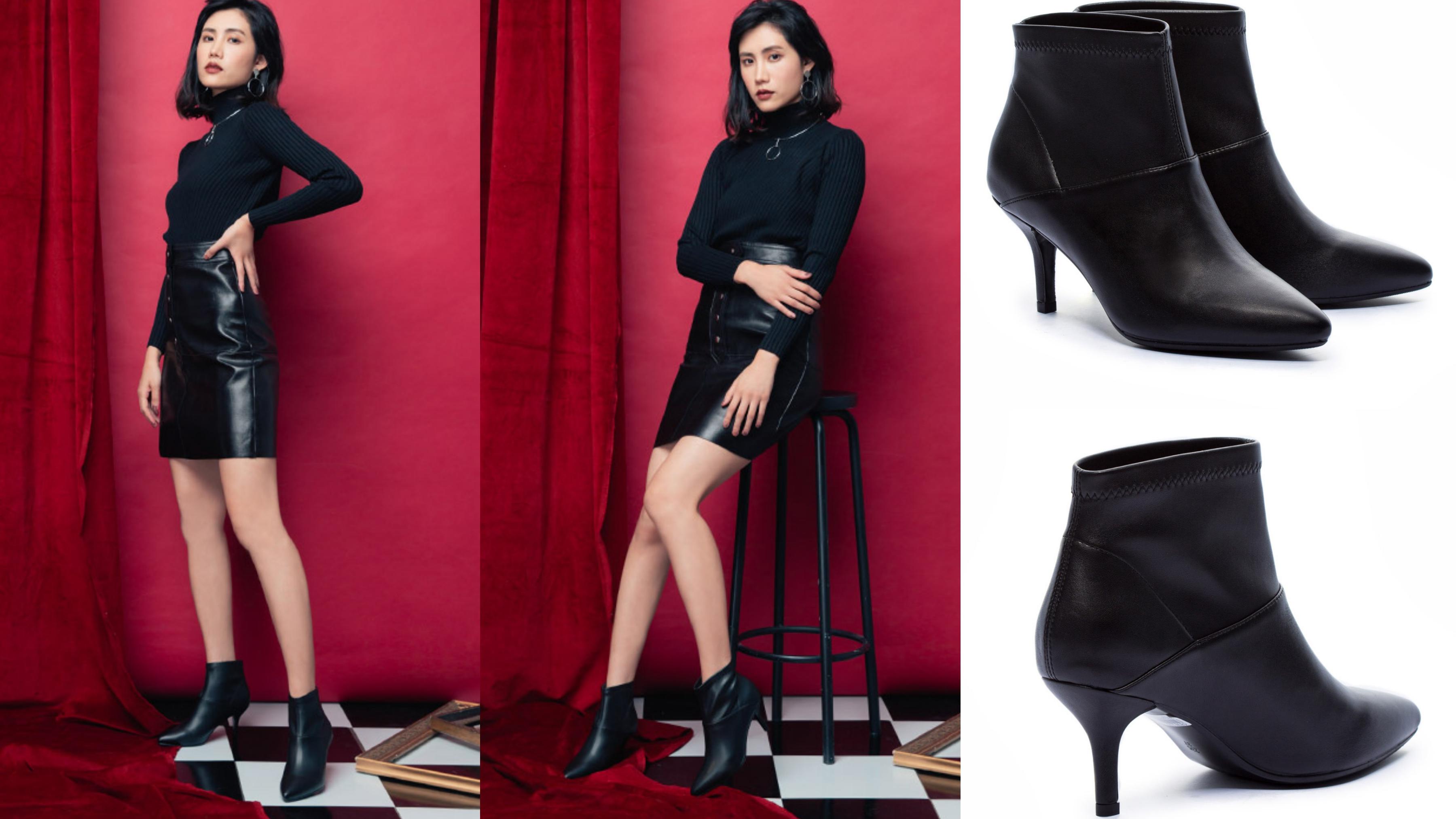 尖楦視覺修飾腳美化腳型更加顯纖瘦性感,俐落剪裁拼接造型展現極簡時尚風格