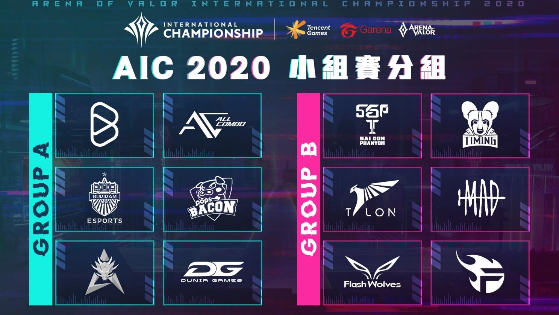 AIC 2020國際賽 小組賽分組表出爐