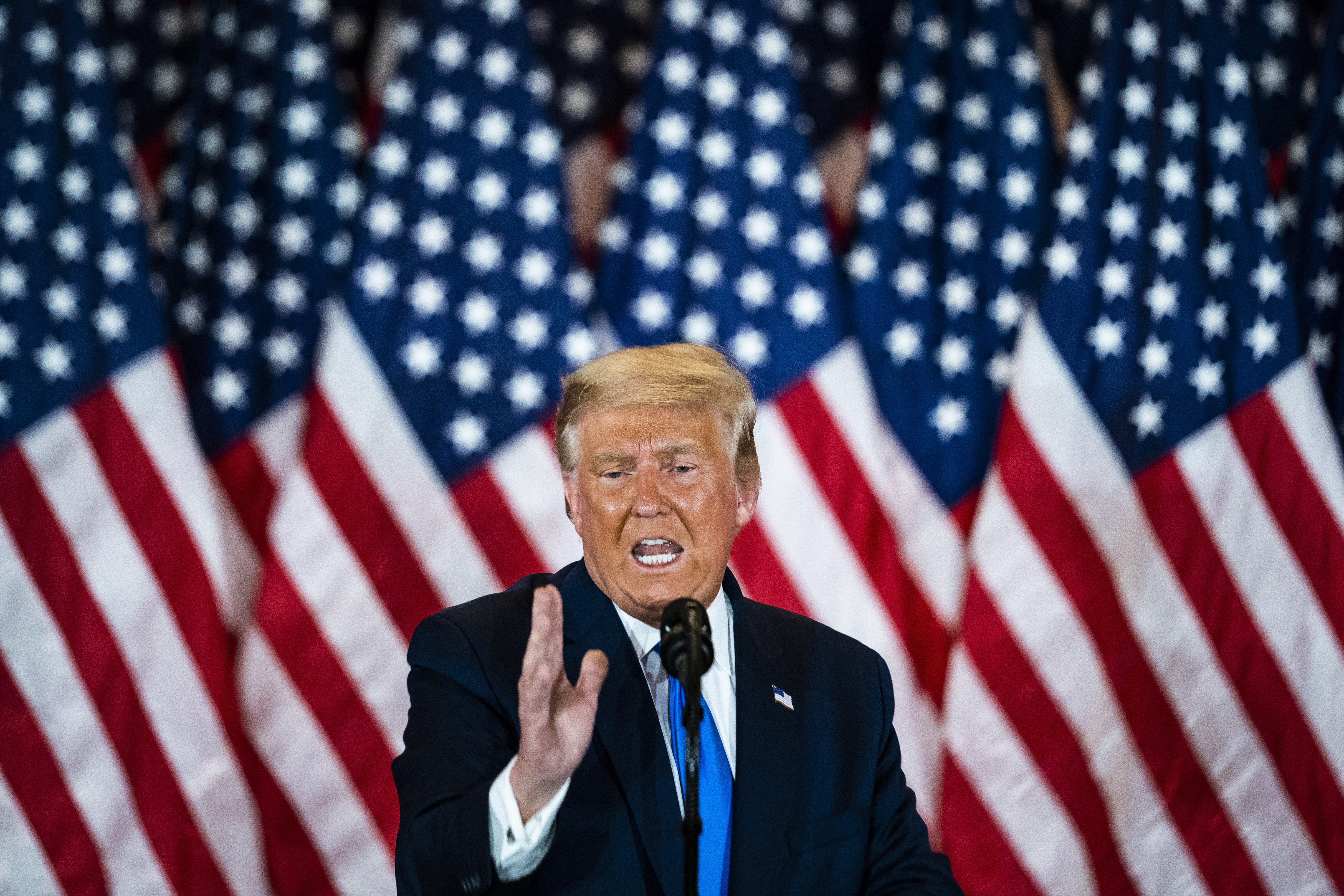 President Donald J. Trump speaks during an election night event in the East Room at the White House early in the morning on Nov 04, 2020 in Washington, DC. (Jabin Botsford/The Washington Post via Getty Images)