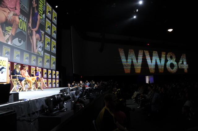 SAN DIEGO, CA - JULY 21:  (L-R) Patty Jenkins, Chris Pine and Gal Gadot speak onstage at the Warner Bros. 'Wonder Woman 1984' theatrical panel during Comic-Con International 2018 at San Diego Convention Center on July 21, 2018 in San Diego, California.  (Photo by Albert L. Ortega/Getty Images)