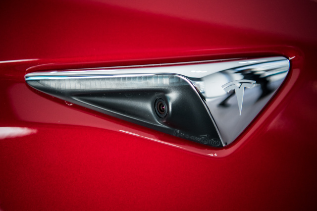 WASHINGTON, DC - JANUARY 26: A side sensor camera on Tesla's new Model 3 car on display is seen on Friday, January 26, 2018, at the Tesla store in Washington, D.C. (Photo by Salwan Georges/The Washington Post via Getty Images)