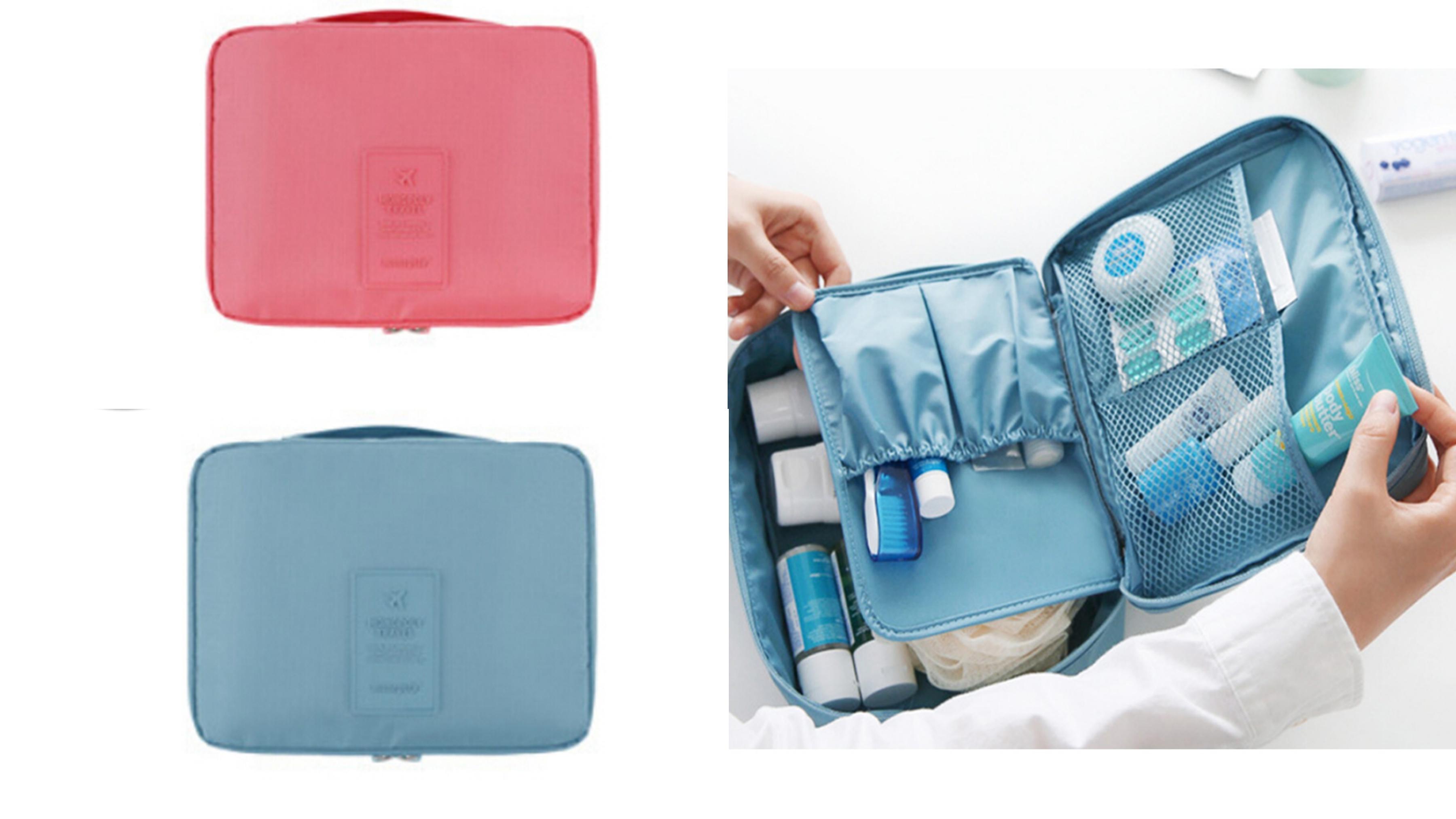 外出必備、行李收納的好幫手!防潑水材質設計,多個口袋可分類東西