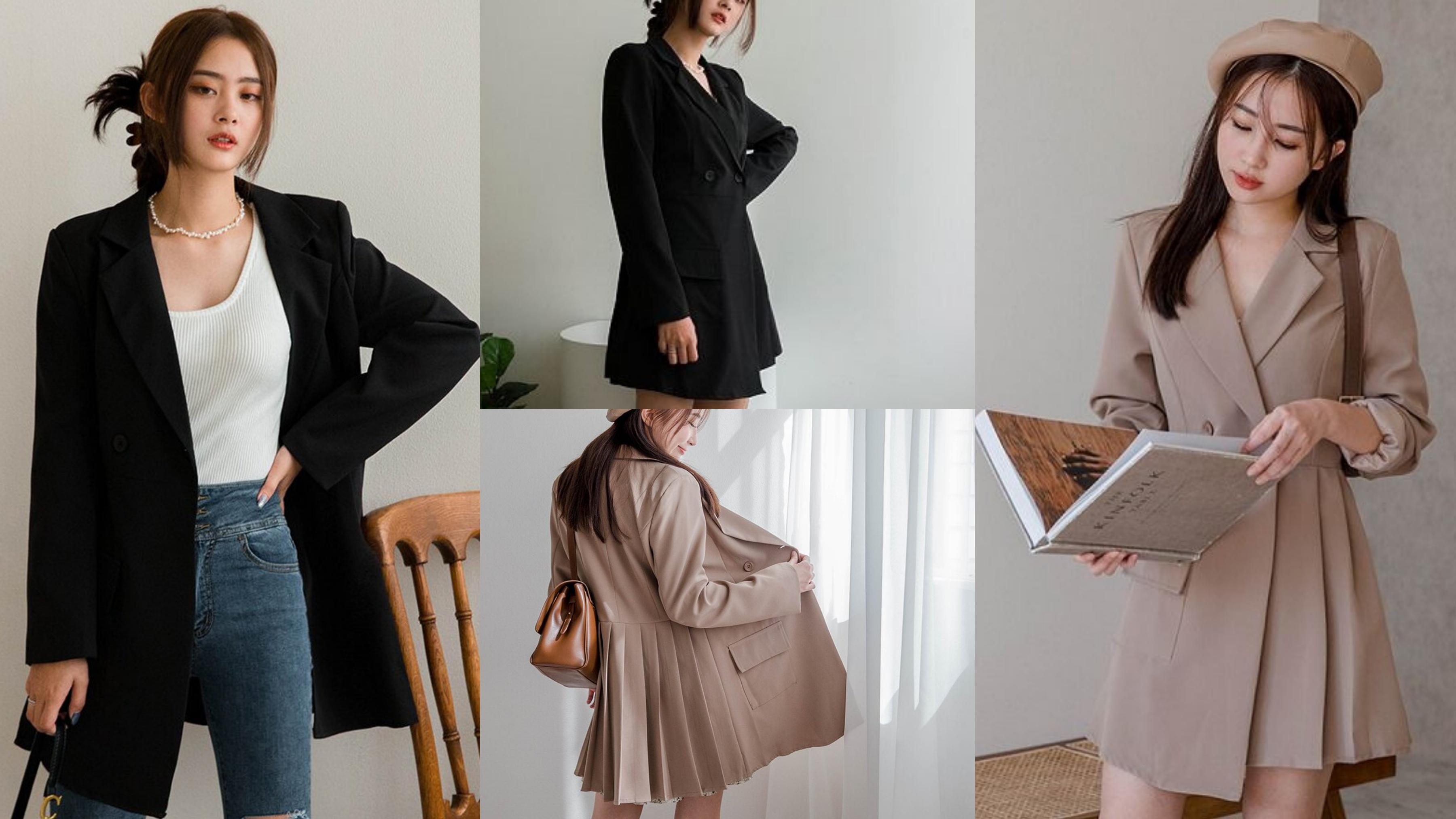 質感西裝領造型,搭配特殊的後百褶裙襬設計,修身又顯瘦