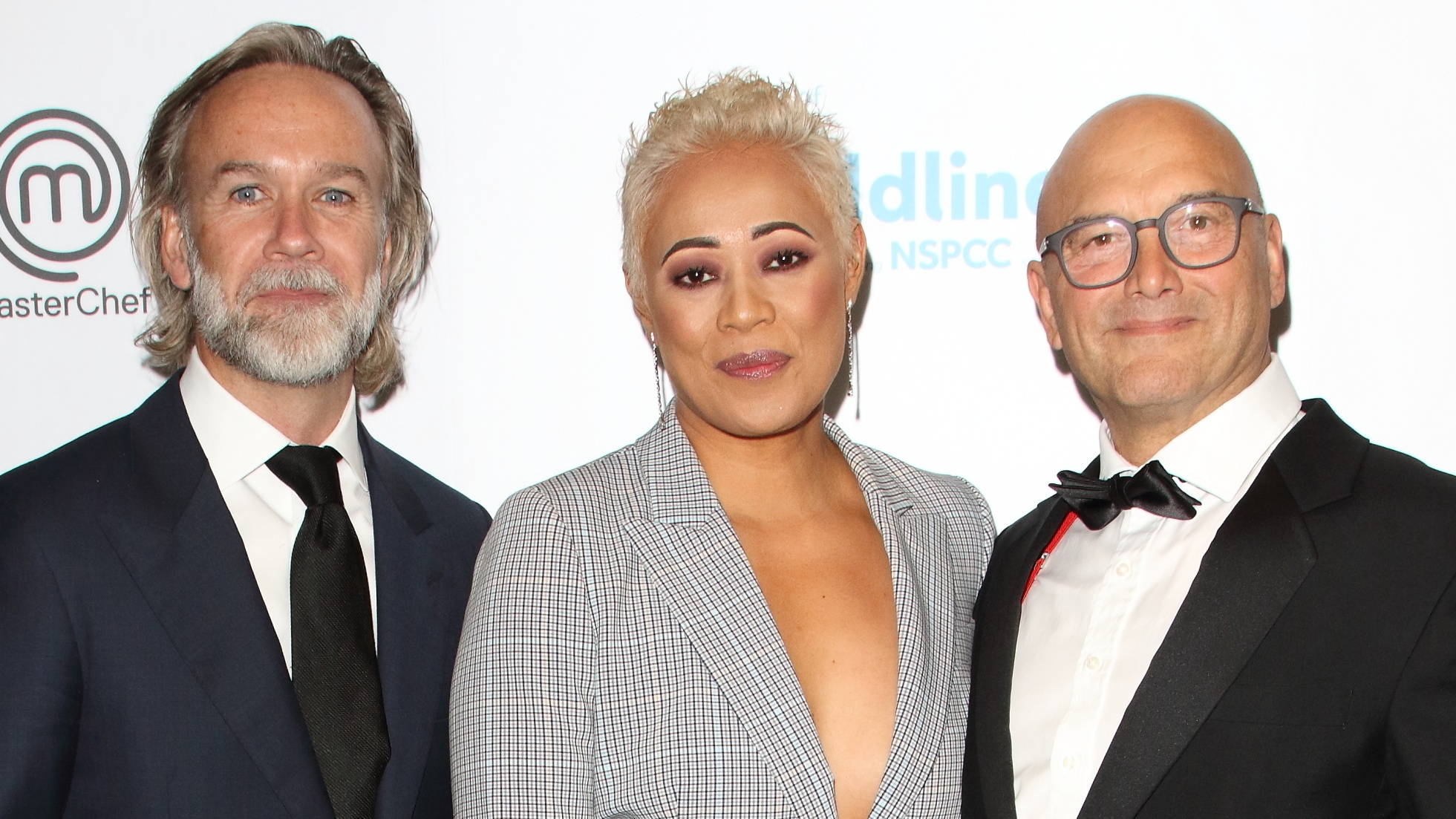Marcus Wareing, Monica Galetti and Gregg Wallace attend The Childline Ball 2019 partnered with MasterChef for this year's theme at Old Billingsgate in London. (Keith Mayhew / SOPA Images/Sipa USA)