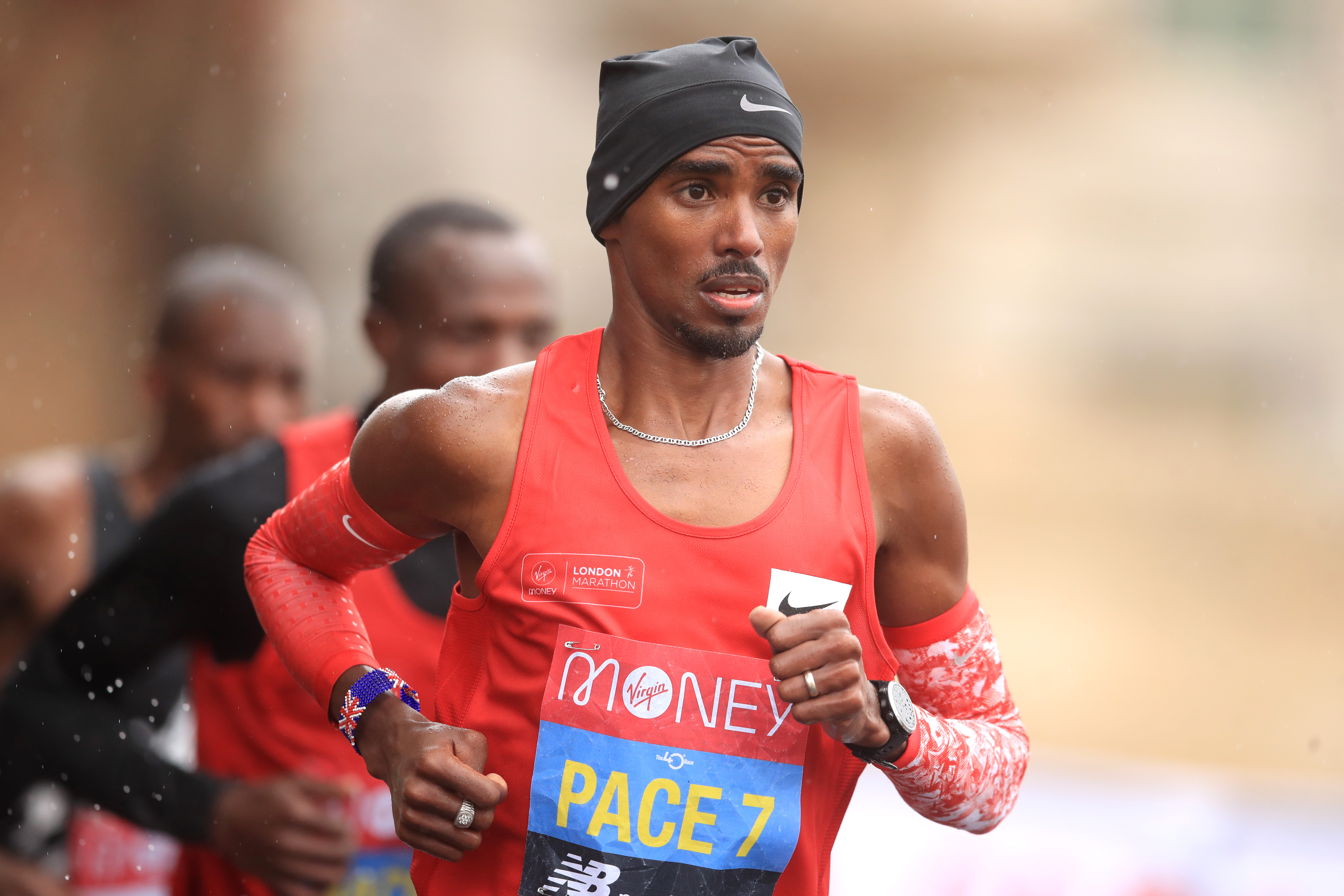 Mo Farah of Great Britain runs as a pacer during the Elite Men's race during the 2020 Virgin Money London Marathon around St. James's Park on October 04, 2020 in London, England. (Photo by Adam Davy - Pool/Getty images)
