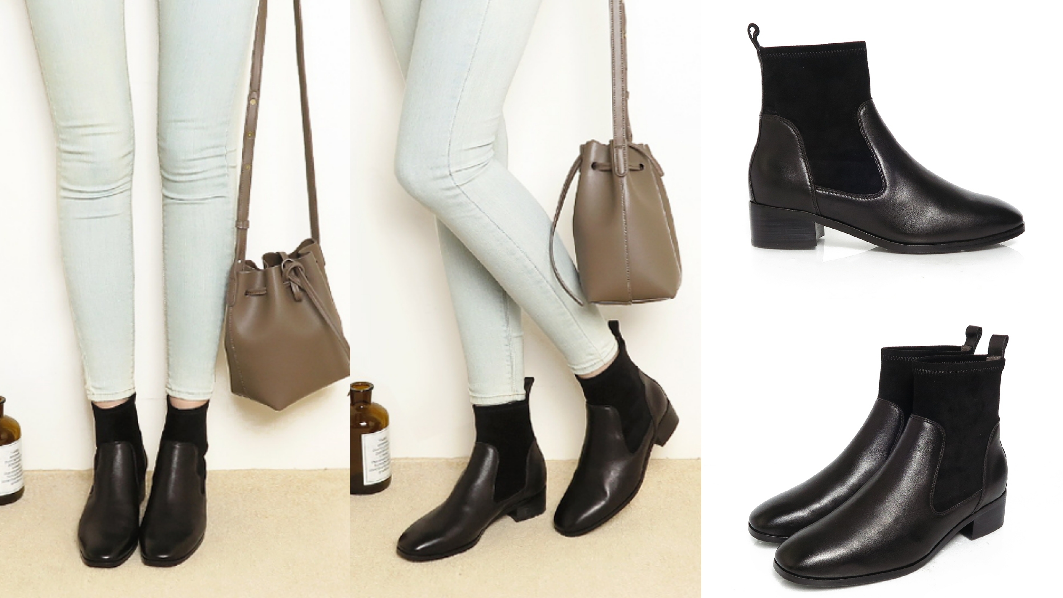 KOKKO時髦方頭拼接牛皮彈力粗跟襪靴黑色 時髦顯瘦方頭,搭配質感進口小牛皮,是冬日最夯襪靴