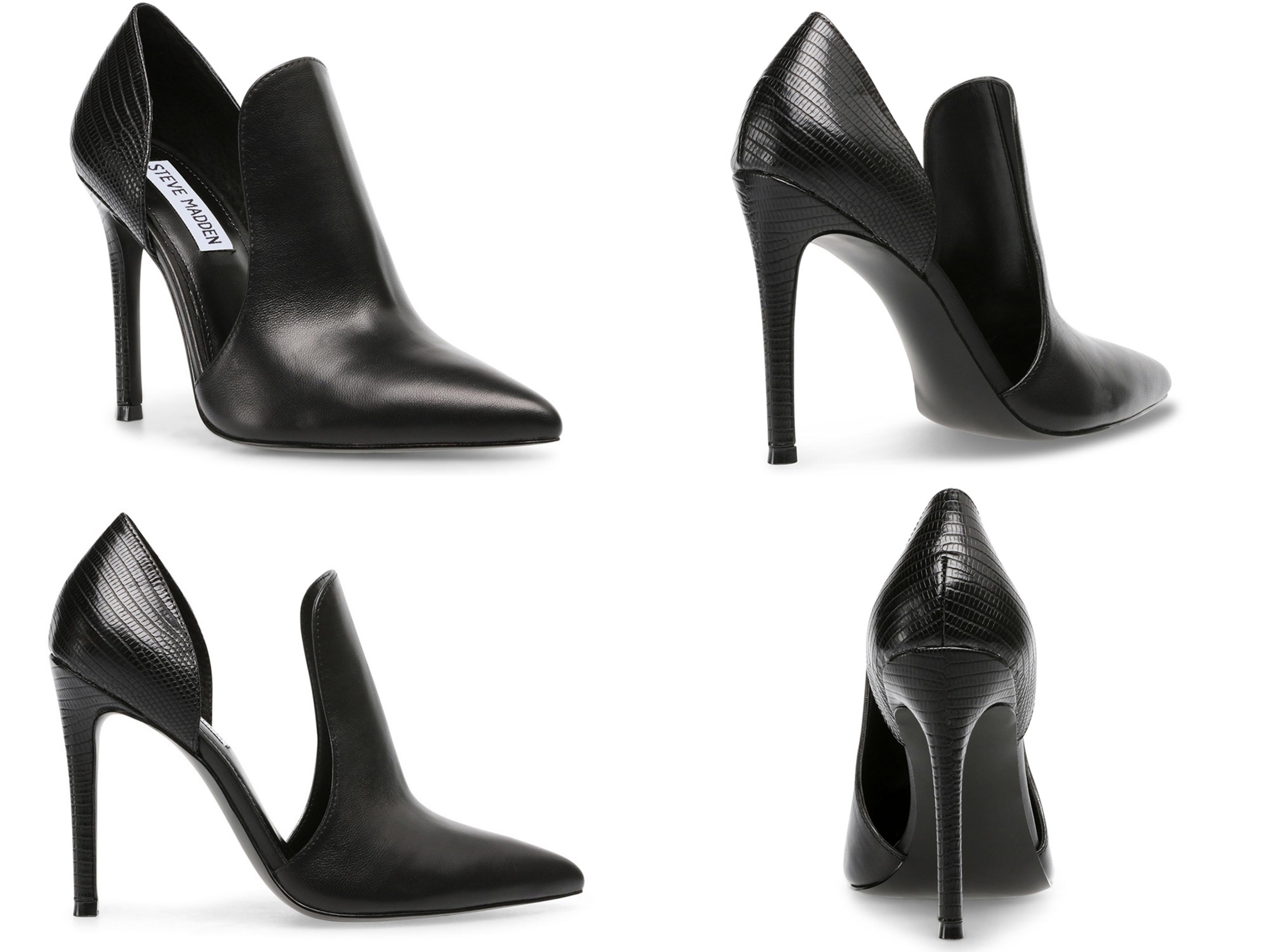 STEVE MADDEN-EMBRY 迷人性感拼接簍空高跟女鞋-黑色 歐美部落客穿搭必備的潮流指標,今年秋冬強勢回歸!