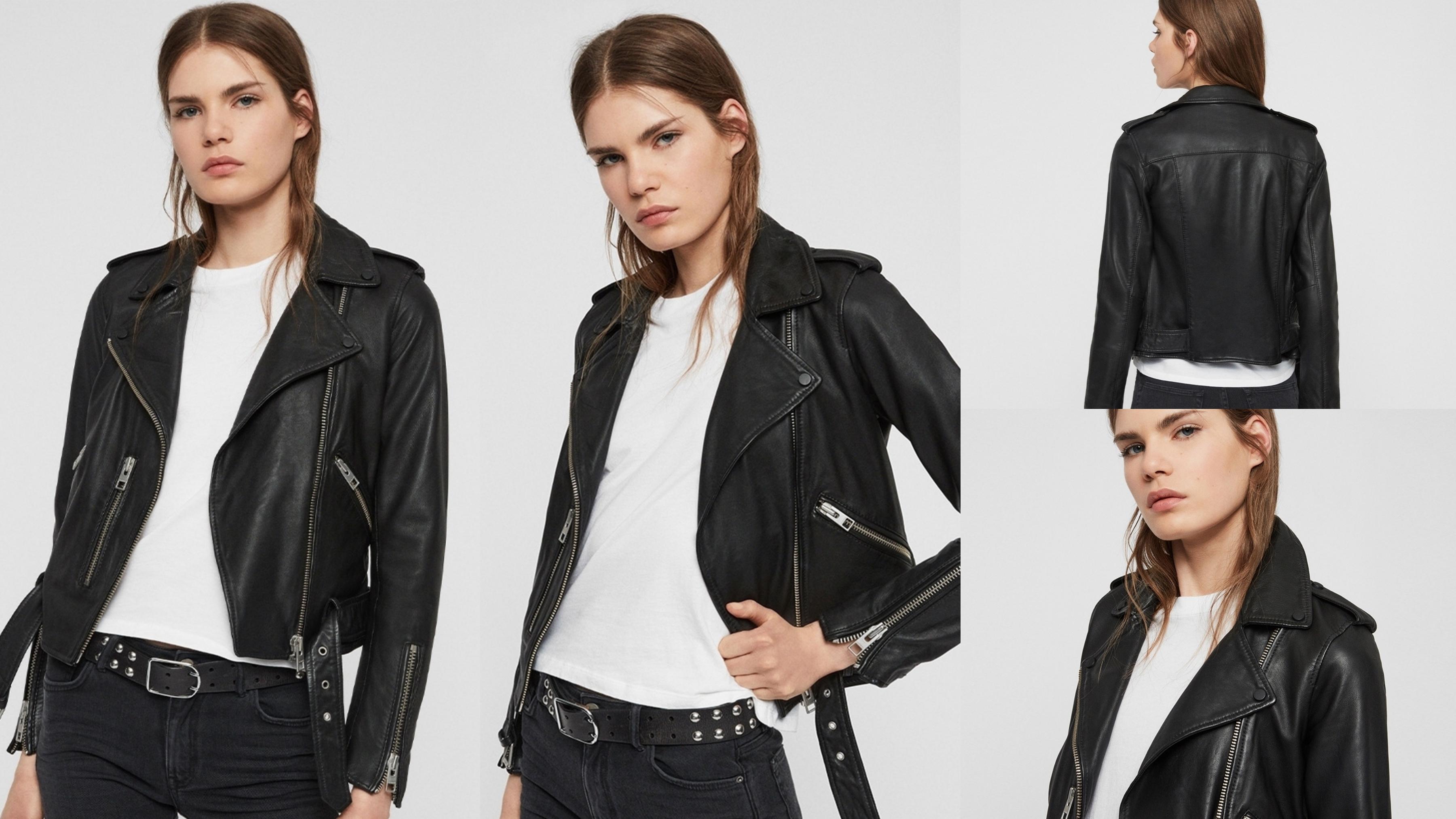 ALLSAINTS BALFERN 經典簡約短版棉羊皮騎士皮衣外套-黑 BALFERN 騎士皮衣採用柔軟的綿羊皮製成,使質感更加柔軟舒適