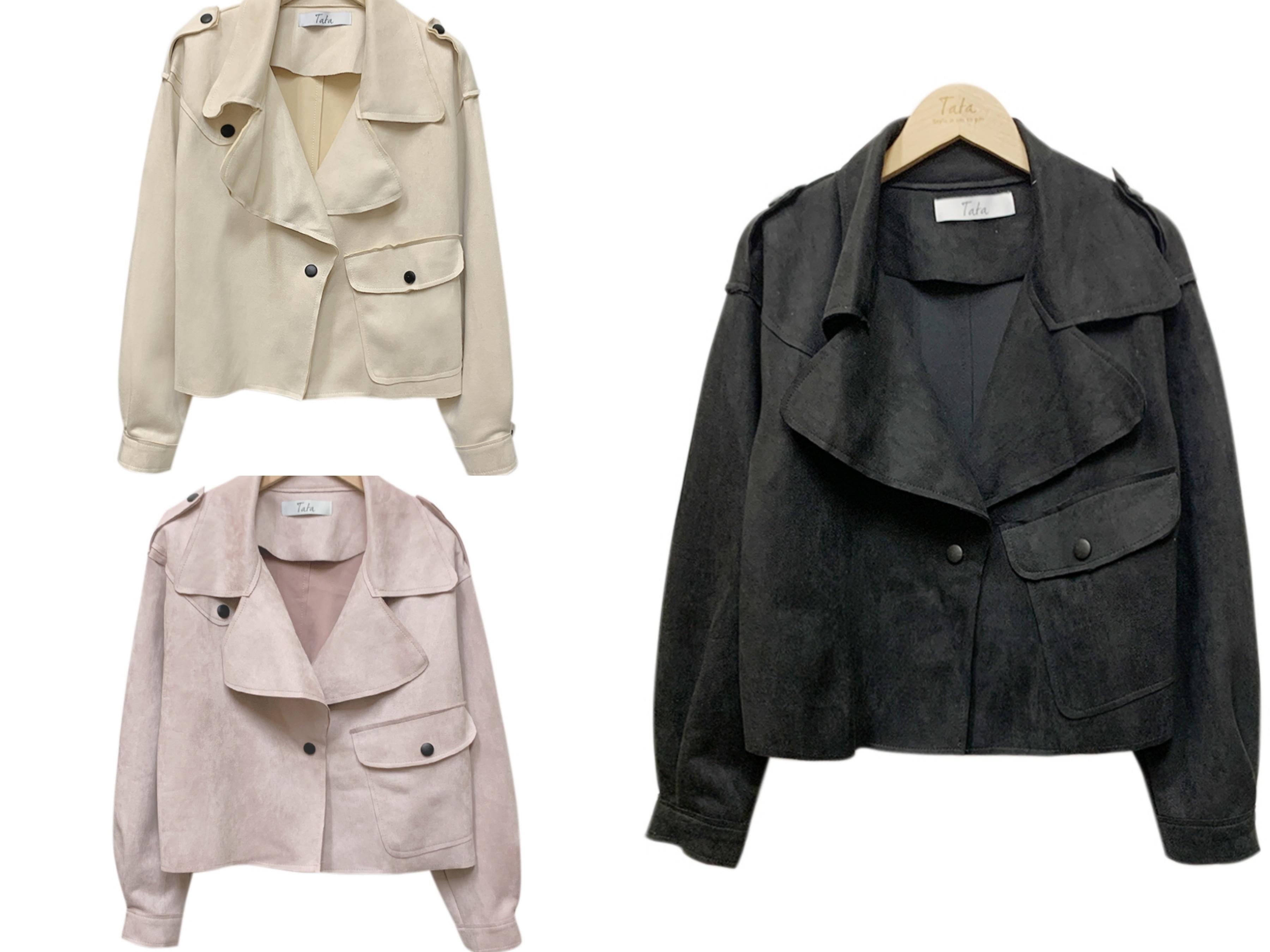 TATA麂皮翻領短版外套(三色) 質感的麂皮布料、搭配翻領造型設計,展現出俐落有型的穿搭風格