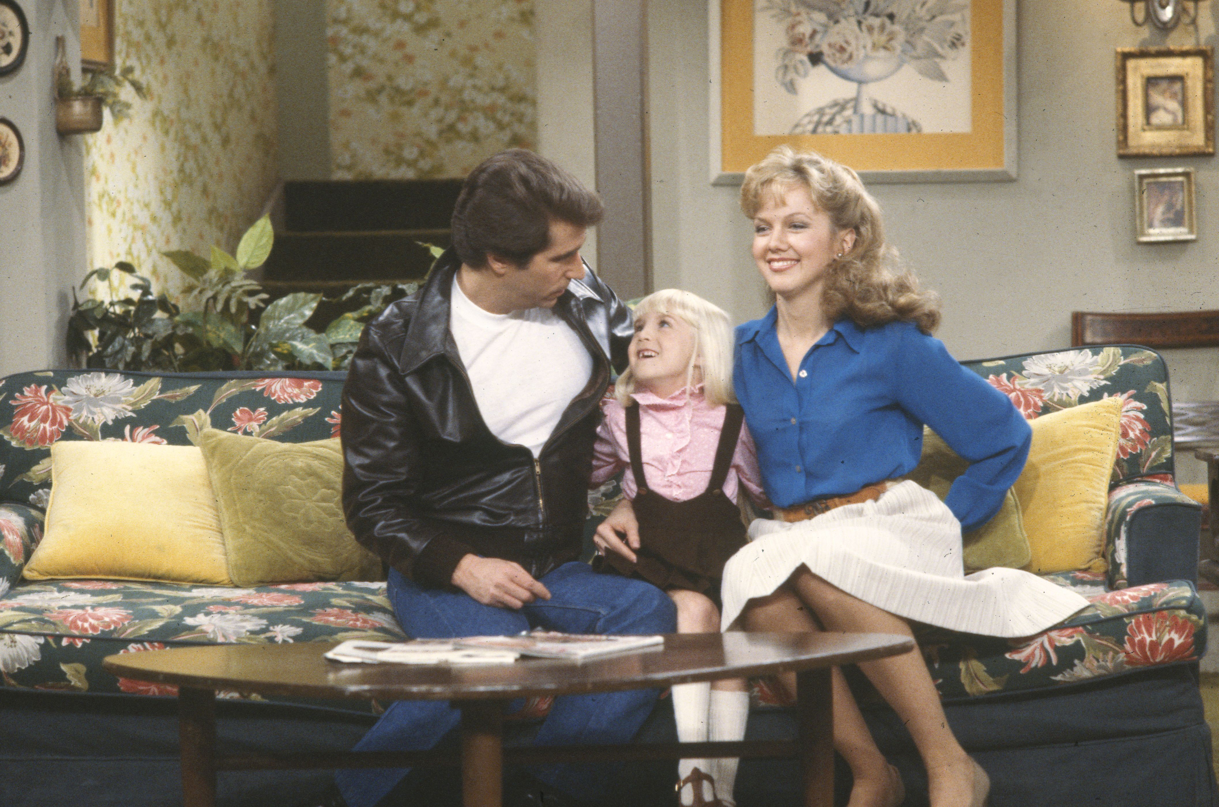 'Happy Days' stars Henry Winkler, Heather O'Rourke, Linda Purl (Photo by Walt Disney Television via Getty Images Photo Archives/Walt Disney Television via Getty Images)