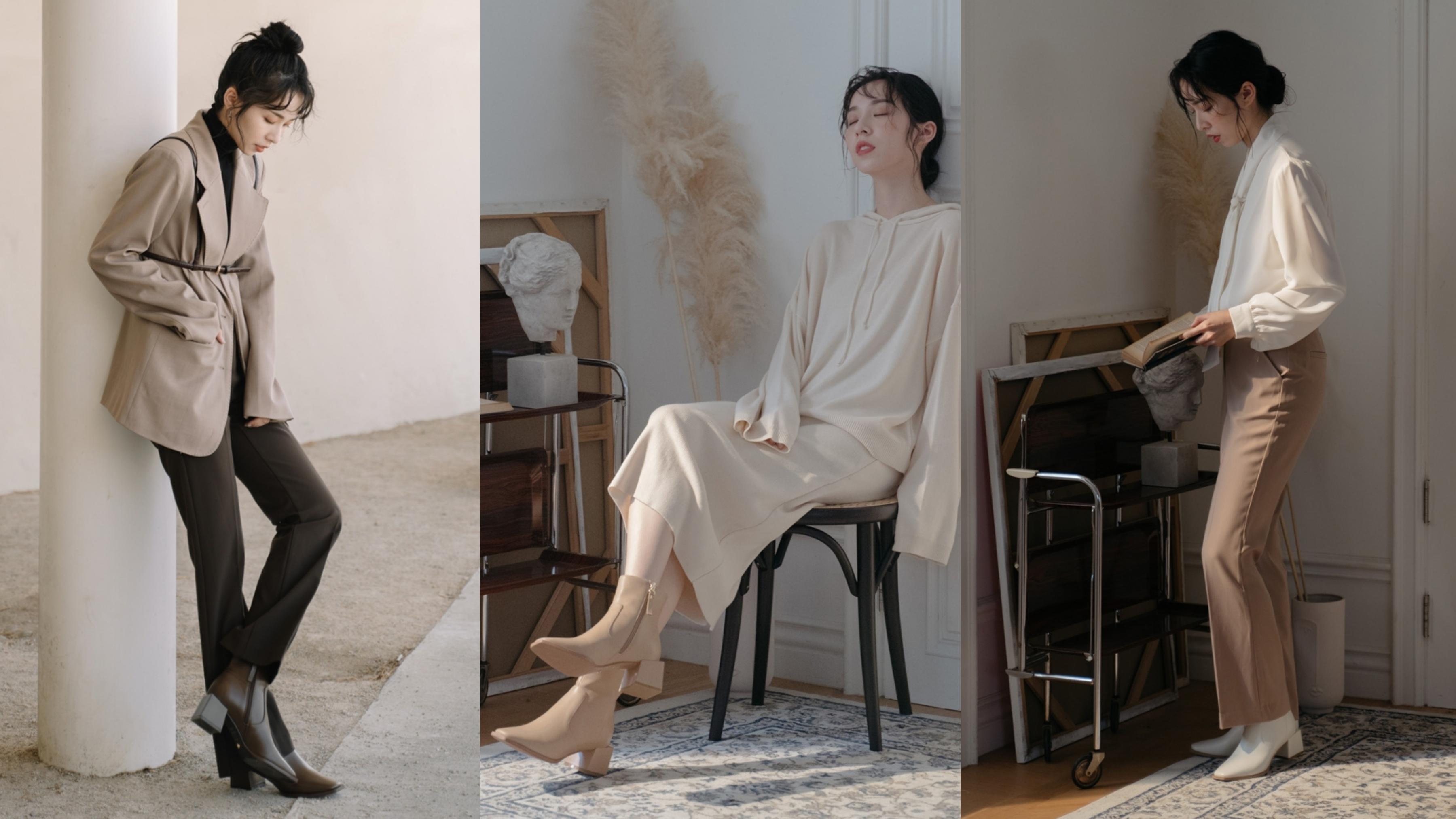 今年必備舒適韓系方頭楦型,低調質感霧面烤漆造型粗跟