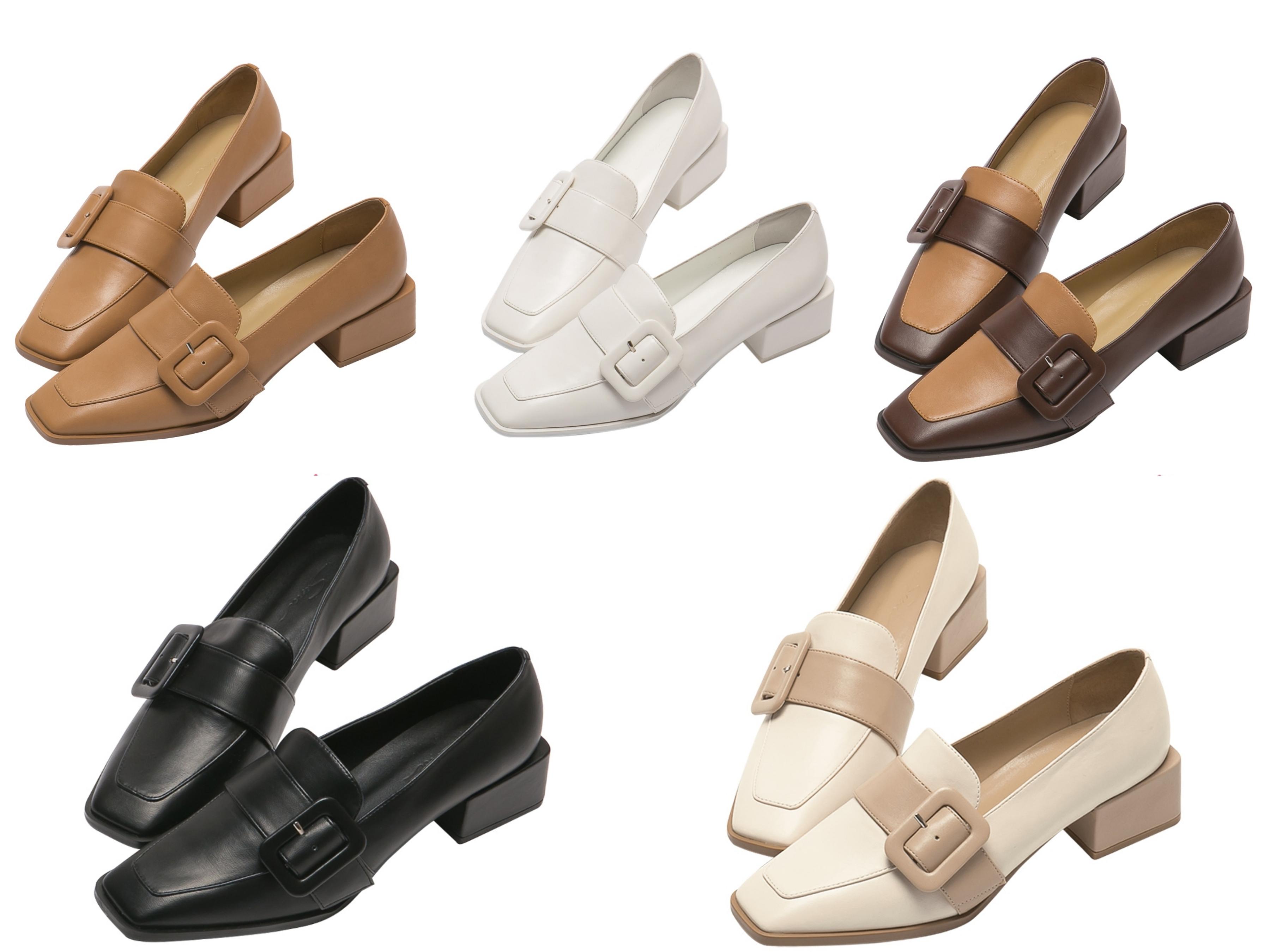 嚴選牛紋面料復古撞色鞋面,可調節質感方扣簡約不失高雅