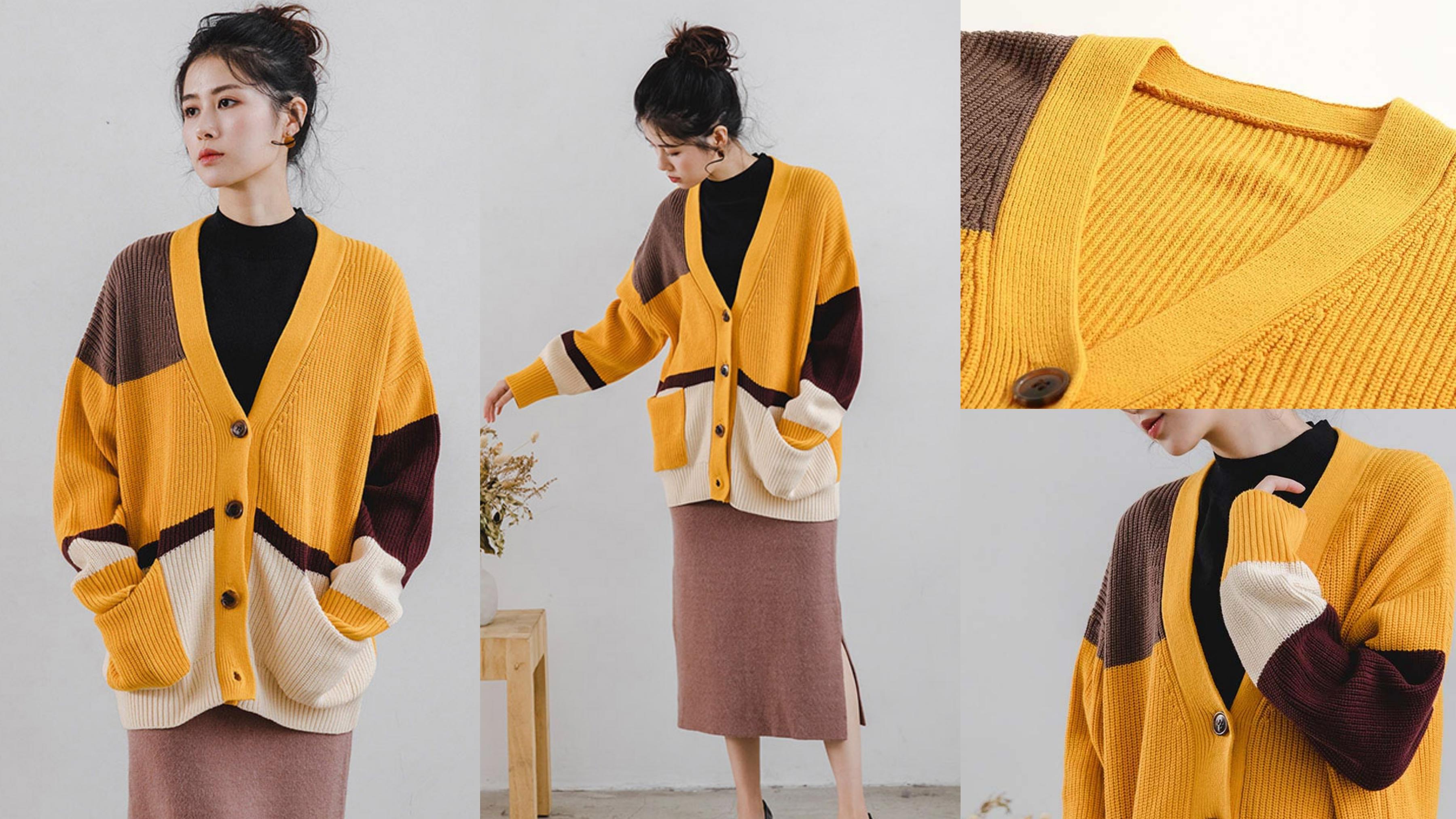 H:CONNECT色塊拼接開襟針織外套-黃色 柔軟面料穿著舒適自在,穿上溫暖又暖心