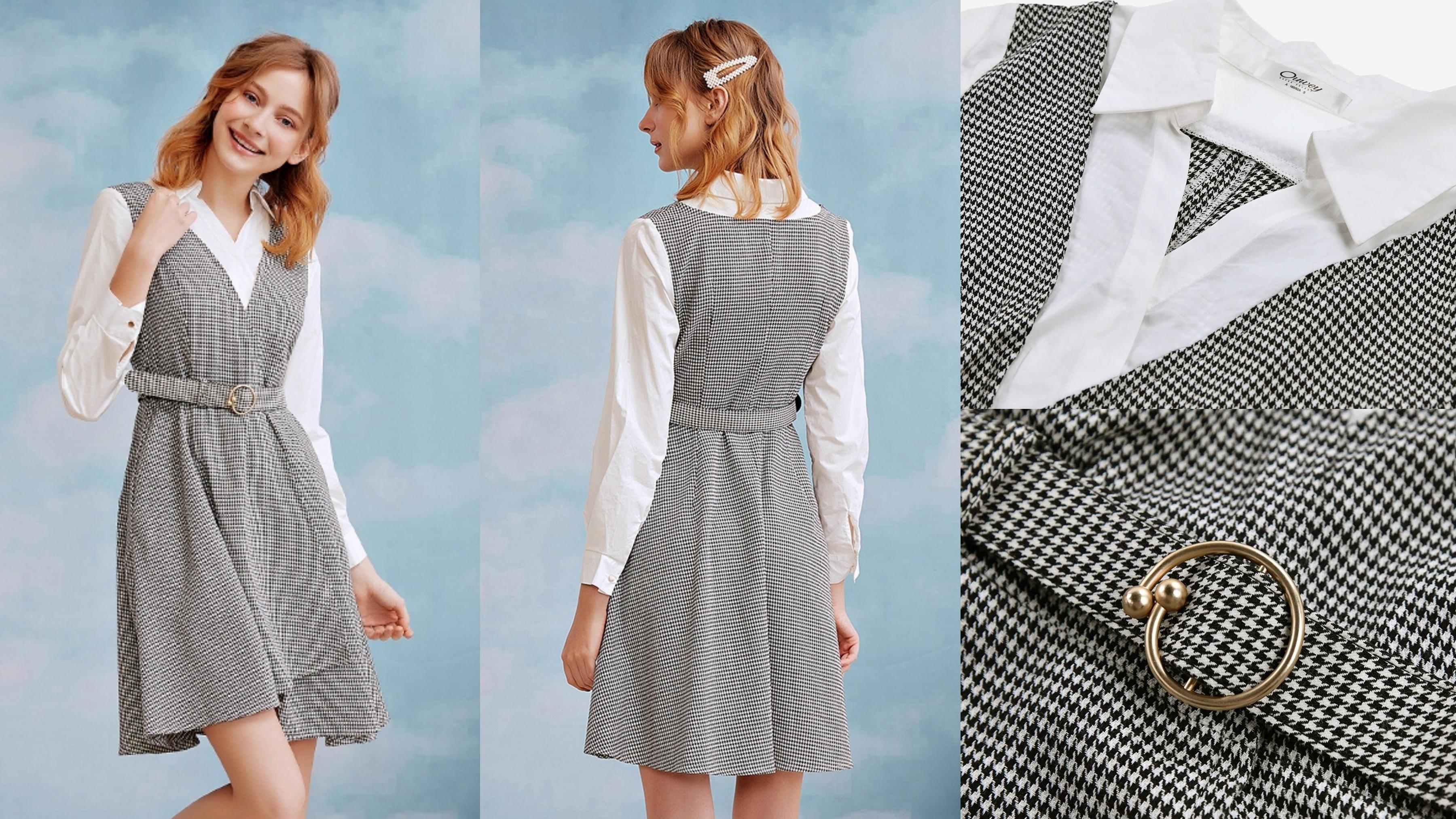 OUWEY歐薇 都會千鳥格假兩件洋裝(灰) 微磨毛千鳥格紋布展現經典風格,高含棉襯衫裡拼接營造都會感
